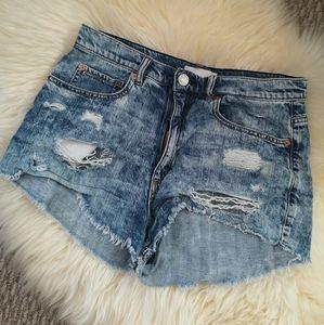 Garage festival denim distress shorts size…